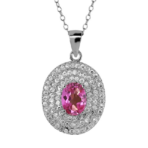Gem Stone King 2.58 Ct Oval Pink Mystic Topaz 925 Sterling Silver Pendant 18' chain Blue Topaz Pendant 18' Chain