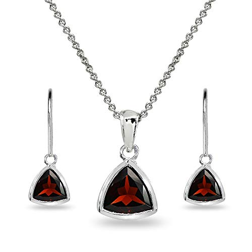 Sterling Silver Garnet Trillion Bezel-Set Pendant Necklace & Dangle Earrings Set for Women, Teen Girls (Trillion Cut Garnet Pendant)