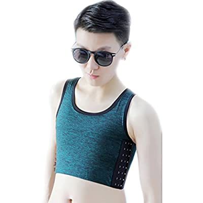 BaronHong Tomboy Trans Lesbian Cotton Chest Binder Plus Size Short Tank Top with Stronger Elastic Band