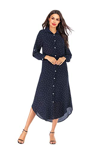 Women's Plus Size Floral Button Down Roll Up Or Drawstring Long Sleeves Maxi Shirt Dress (L, Navy Polka dots)