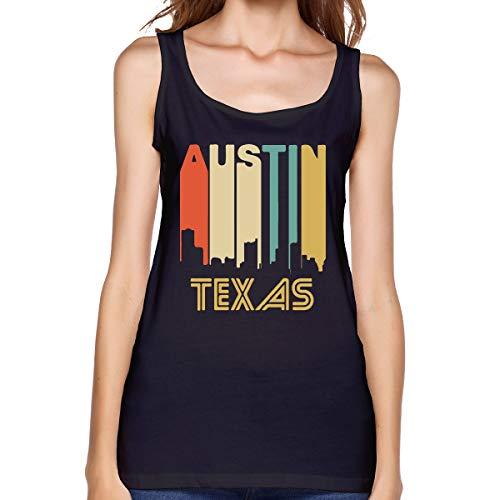Rej13k@top Women Vest Beautiful Retro 1970's Style Austin Texas Skyline 100% Cotton T-Shirt Black ()