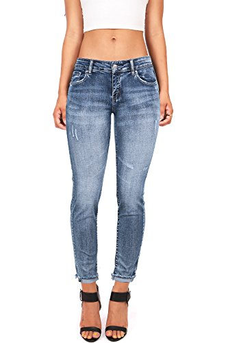 Wax Women's Juniors Low Rise Faded Ankle Jeans (5, Light (Light Junior Jeans)