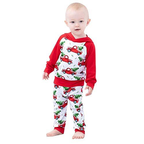 Baby Boys Girls Christmas Hoodie Sweatshirt Red Top + Xmas Tree Print Pants Outfits Set (Baby Christmas Hoodie, 6-12 Months)