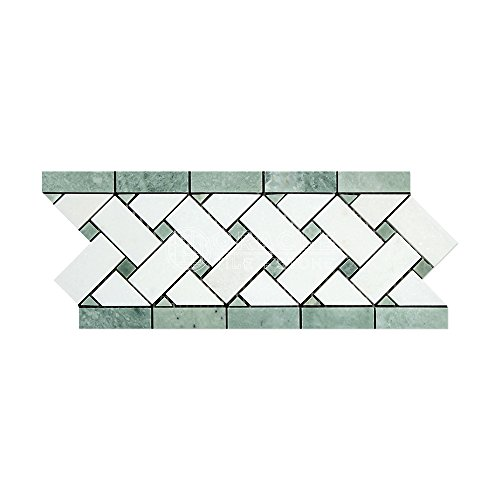 Thassos White Greek Marble Basketweave Border Mosaic Tile with Ming Green Marble Dots, Honed