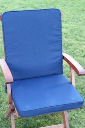 UK-Gardens Navy Blue Garden Furniture Seat And Back Full Folding Chair Cushion - Removable cover - Double Piped - Indoor or Outdoor Use