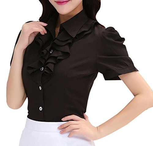 Yasong Women Ladies Short Sleeve Slim Fitted Formal Top Work Blouse Frill  Ruffle Blouse efd8cb351