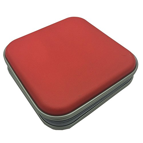 40 Disc Storage Case - Twinsisi Portable Plastic 40 CD DVD VCD Case Storage Bag Organizer Wallet Holder Album Box for Car, Home, Office and Travel (red)