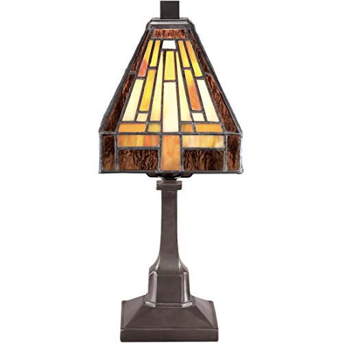 Mission Stained State Glass - Torbrook Tiffany Table Lamp, Stained Glass, Vintage Mission Desk Lighting, 2-Light 25 Watts, Bronze Patina