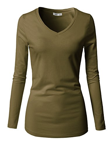 (H2H Womens Casual T Shirt Comfy Short Sleeve Pull Over Basic Scoop and V- Neck Summer Top Olive US 3XL/Asia 3XL (CWTTL0250))