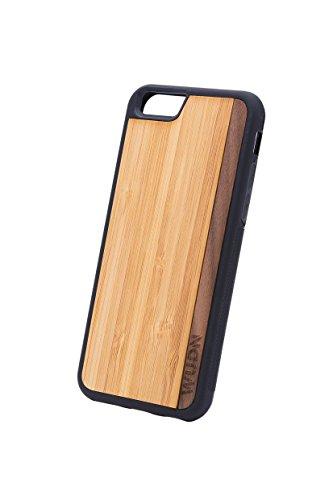 WUDN Wood iPhone 6 Plus/6S Plus Cases Quality Unique Handmade Wooden Ultra Slim (Exact Fit) Premium Wood Apple Cases (iPhone 6 Plus Bamboo - Walnut Stripe)