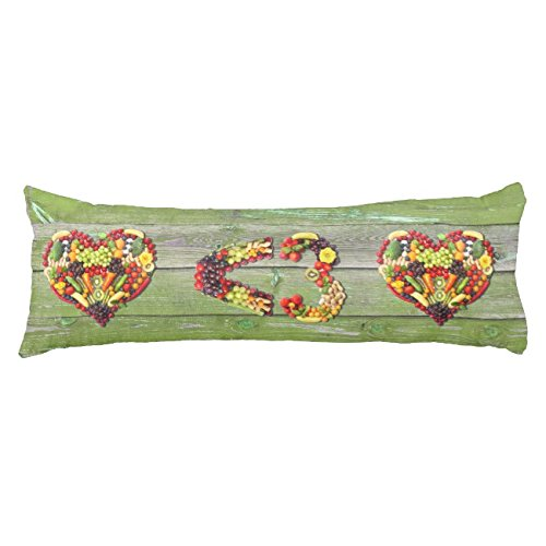 UOOPOO VEGAN LOVE - your Heart Green Wood Wall Body Pillow for Mom Typography Polyester Body Pillow Cover Square 20 x 54 Inches for Bed Print on Twin Sides