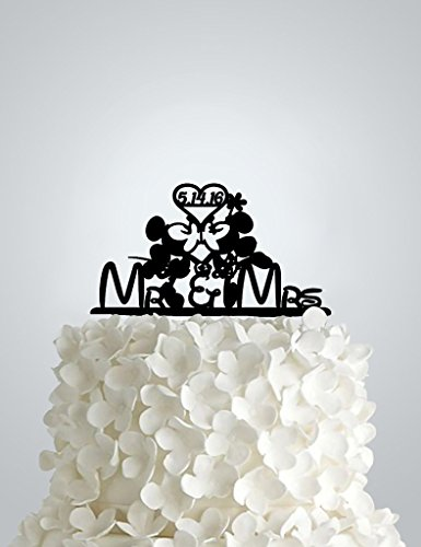 Acrylic Wedding cake Topper - Mickey and Minnie Mr and Mrs with Date