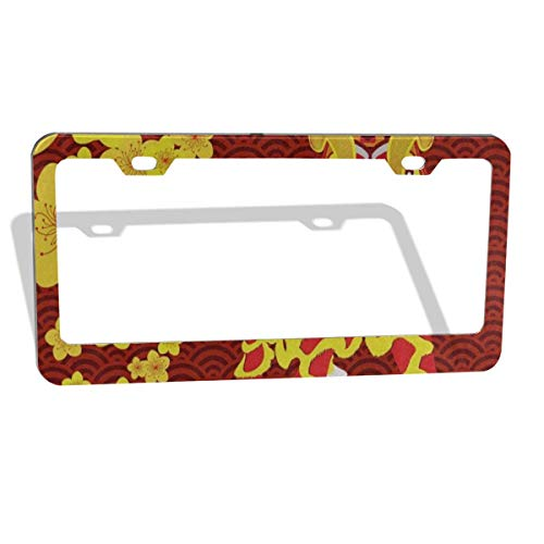 FunnyCustom License Plate Frame Chinese New Year Plum Blossom Lion Unique Aluminum License Plate Set Metal Tag Holder 2 Pack