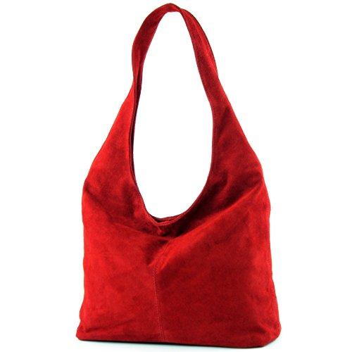 Bag Dark Damentasche Leather modamoda de T150 Bag Bag Red ital Shoulder Shoulder Wildleder P0TqwSA