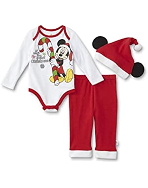 Baby Boys Disney Mickey Mouse My First Christmas Outfit -- Shirt, Pants, & Santa Hat
