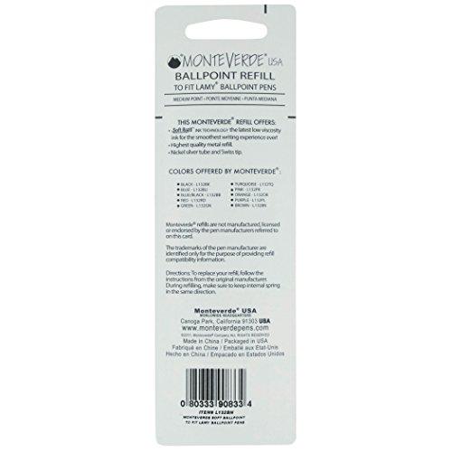 Monteverde Soft Roll Ballpoint Refill for Lamy Ballpoint Pens, Blue/Black, 2 Pack (L132BB) Photo #3