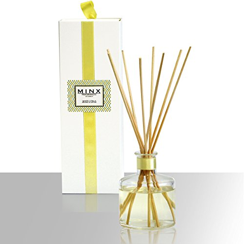 Reed Diffuser Sandalwood - MINX Fragrances Citrus Scented Oil Reed Diffuser, Sandalwood and Amber, White