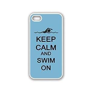 Keep Calm And Swim On - Aqua - Protective Designer WHITE Case - Fits Apple iPhone 6 plus