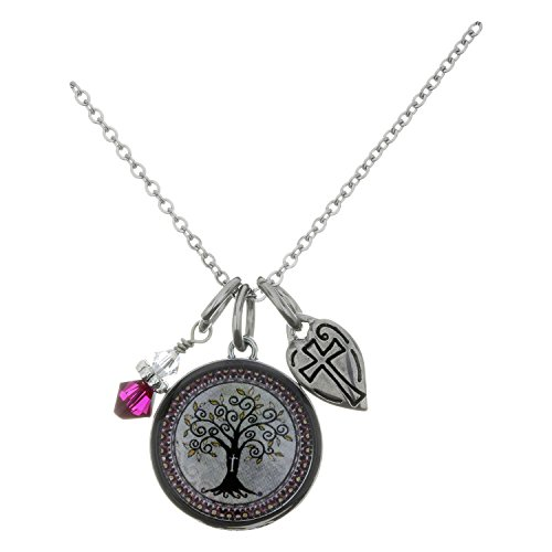 Spirit Lala Tree of Life Cream Circular Reversible Pendant Necklace With Crystal (Crystal Circular Charm)
