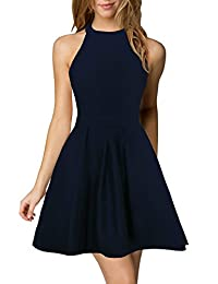 Berydress Women's Halter Neck Backless Flared A-Line Short Cocktail Party Dress