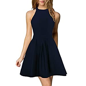 Berydress Women's Halter Neck A-Line Semi Formal Short Backless Black Cocktail Party Dress