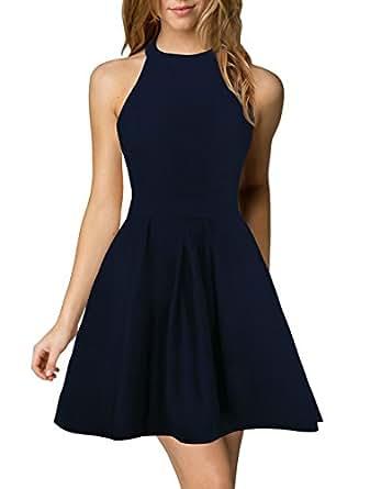 Amazon.com: Berydress Women's Halter Neck A-Line Semi