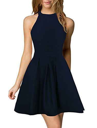 Berydress Women's Halter Neck Backless Navy Cocktail Party Dress (S, 6019-Navy)