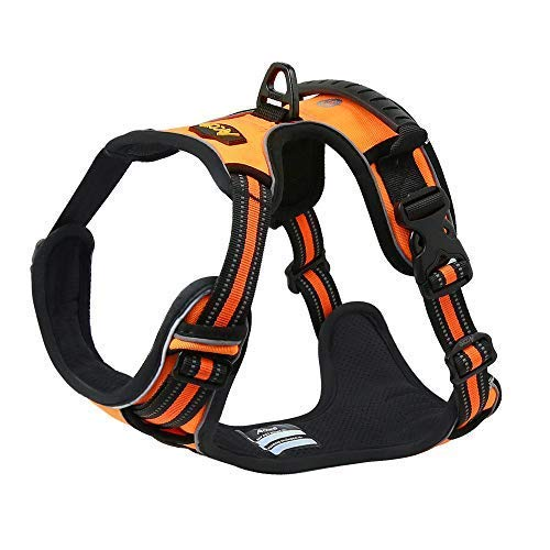 Acare Durable Front Dog Vest Harness No Pull with Handle, 3M Reflective Padded Harness Jacket for Medium/Small Dogs-No Chafing or Choking for Easy Walk, Training and Hunting-Size M