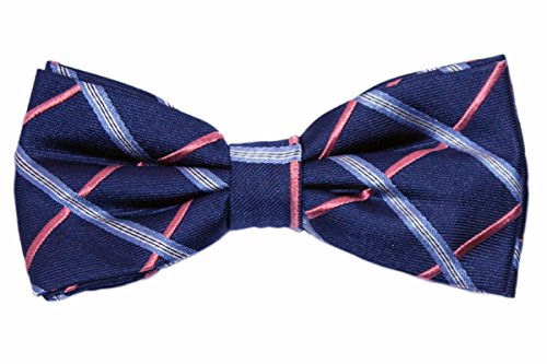 navy blue and coral bow tie - 5