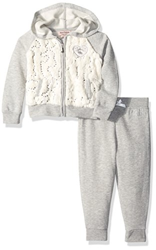 Juicy Couture Zip (Juicy Couture Baby Girls' 2 Piece Fleece Hooded Jacket with Faux Fur and Pant Set, Gray, 12 Months)