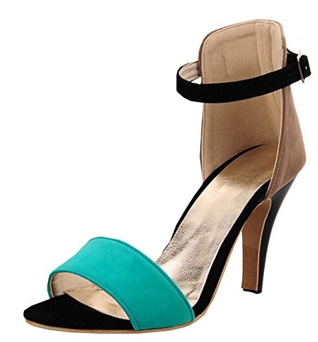 Easemax Womens Color Contrasted High Chunky Heel Ankle Buckle Strap Open Toe Sandals Green x8Zq2m