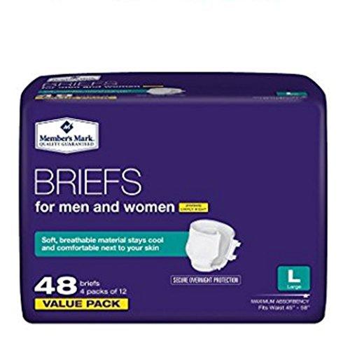 (Member's Mark Size Large 4-Packs of 12 (48 Total) Briefs For Men & Women)