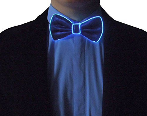 RaveLife Light Up Bow Tie LED El wire Tie for Party Christmas Rave Party Gift (Blue bow tie-Blue, (Electric Blue Long Tie)