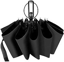 折りたたみ傘 ワンタッチ自動開閉 おりたたみ傘 頑丈な10本骨 UVカット率99.9%以上 折り畳み傘 メンズ 台風対応 梅雨対策 超撥水 雨晴兼用 傘カバー付き (ブラック)