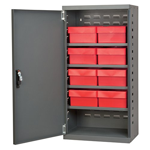 UPC 032903014723, Akro-Mils ACS4C82RED Steel Door Mini Cabinet with 8 Drawers, Gray/Red