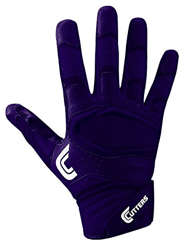 Cutters Gloves Rev Pro 2.0 Receiver Football Gloves, Solid Purple, Medium