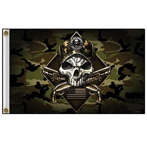 Officially Licensed Originals 2ND Amendment Camouflage Skull - Outdoor Biker Flag, Original Artwork, 3' X 5'