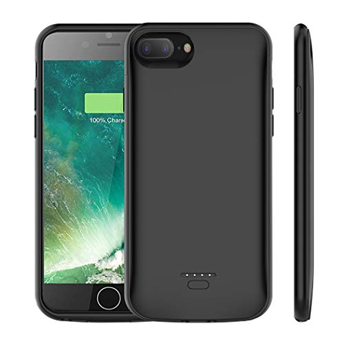 iPhone 7 Plus / 8 Plus Battery Case, Euhan 5500mAh Rechargeable Portable Power Charging Case for iPhone 6 Plus / 6s Plus / 7 Plus / 8 Plus Extended Battery Pack Ultra Thin Charger Case-Black