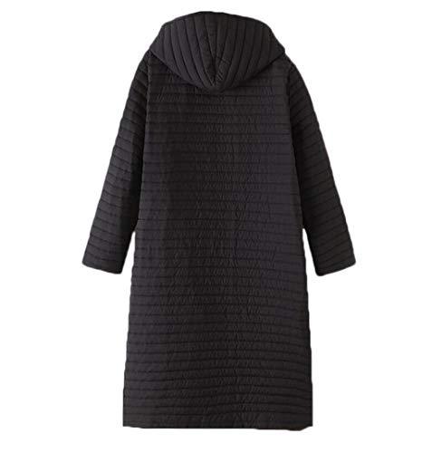 Mujer Cazadora Para Con De Invierno Delgada E Grueso Negro Otoño Gran Tamaño Capucha Abrigo Chaqueta Cálida 1qx85Aw1d