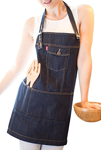(VANTOO Grilling Barbecue Denim Apron with Pockets and Adjustable Neck Strap,Sexy Gifts for Chef Painter Father Men and Women,Indigo)