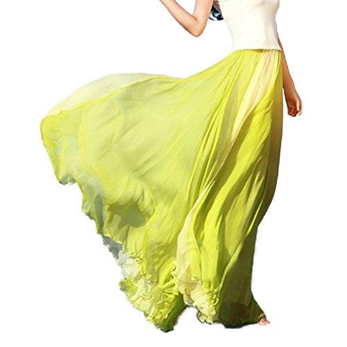 Hibote Femme Jupe Boheme lastique En Mousseline De Soie Longue Robe De Plage Maxi Jupe Demi-Longueur Robe De Plage En Mousseline 5#