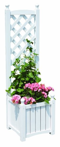 DMC Products Lexington 16-Inch Square Solid Wood Trellis Planter, White from DMC Products