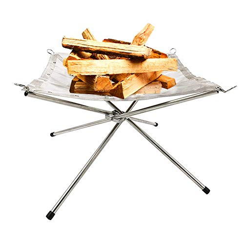 Barbella Portable Mesh Firewood Rack -Stainless Steel Outdoor Fire Pit with A Free Carry Bag for Outdoor Heating, Bonfire, Grill, Picnic, Campfire