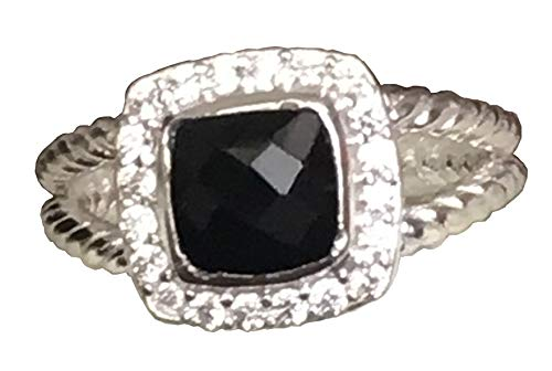 Gempara Designer Inspired Silver 7mm Petite Albion Ring with Black Onyx and Simulated Diamonds Size 6 7 8 9 10 New (7.5)