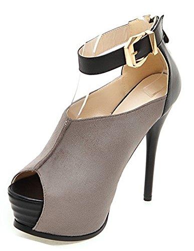 Mode Aiguille Bouche Plateforme Sandales Talon De Aisun Gris Femme Poisson 4gqwp5