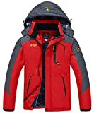 JINSHI Men's Snow Jacket Waterproof Ski Jackets Winter Hooded Mountain Fleece Jacket (Red,L)