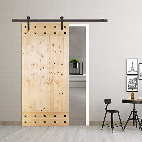 UKN 42 in X 84 Unfinished Barn Door with W/Sliding Hardware Wood Includes
