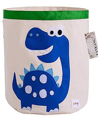 FANKANG Large Sized Toy Bin Stylish Dinosaur Design Canvas & Linen Fabric Storage Basket Laundry Hamper with Waterproof Coating for Kids Room(Dinosaur)