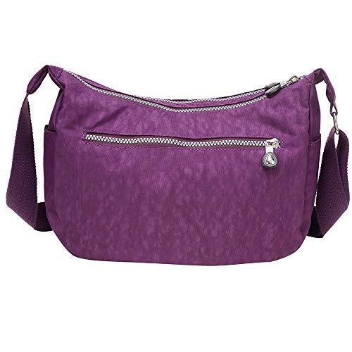 Borsa Solido A Impermeabile Tracolla Nylon Moda Donna In Con Viola Colori rr10dwqn