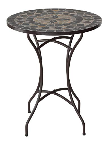 Cortesi Home CH-DT700208 Mimi Mosaic Round Indoor/Outdoor Bistro Table, 24
